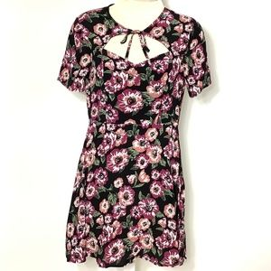 Forever 21 Midi Dress Moody Floral Black Pink M